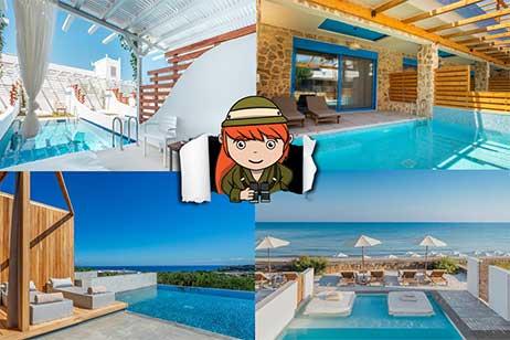 Overzicht: hotelkamer met privézwembad in Griekenland
