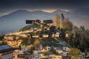 Himmelchalets op Alpencamping Nenzing - Camping Oostenrijk